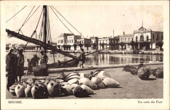 Ak Sousse Tunes Tunesien, Un coin du Port, Hafenpartie, Segelboot, Ortschaft