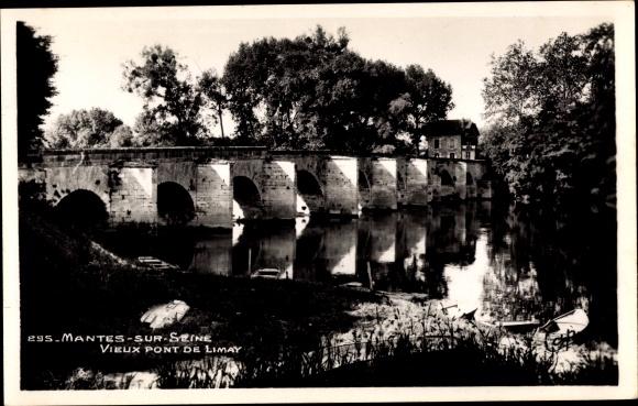 Ak Mantes sur Marne Yvelines, Vieux Pont de Limay, Flusspartie