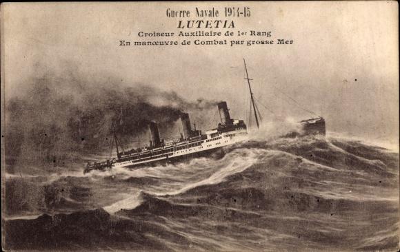 Ak Französisches Kriegsschiff Lutetia, Croiseur Auxiliaire de 1er Rang