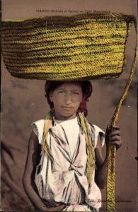 Ak Marokko, Type Mauresque, Junge mit Strohkorb auf dem Kopf, Maghreb