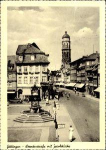 Ak Göttingen in Niedersachsen, Blick in die Weenderstraße mit Jacobikirche