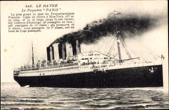 Ak Le Havre, Paquebot Paris, CGT French Line, Transatlantique 0