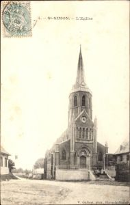 Ak St. Simon Aisne, L'Eglise, Ansicht der Kirche, Eingangsfront