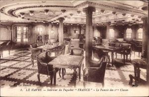 Ak Le Havre, Paquebot France, CGT French Line, Transatlantique, Fumoir