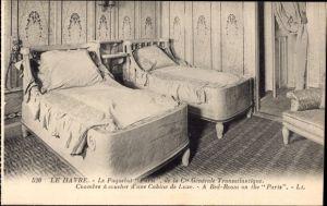 Ak Le Havre, Paquebot Paris, CGT French Line, Transatlantique, Chambre