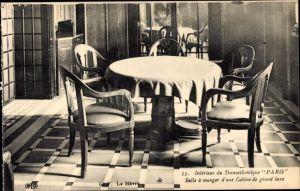 Ak Le Havre, Paquebot Paris, CGT French Line, Transatlantique, Salle à manger
