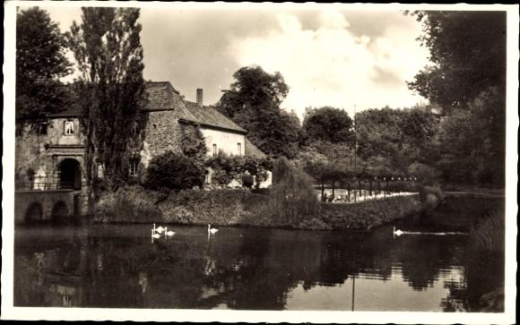 Ak Rheydt Mönchengladbach, Blick auf das Schloss mit Teich, Schwäne