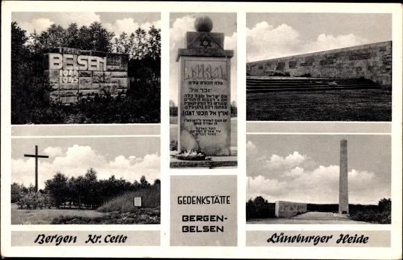 Ak Bergen, Lüneburger Heide, Gedenkstätte Bergen Belsen, Hebräisch