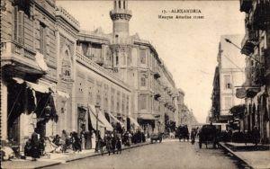 Ak Alexandria Ägypten, Mosque Attarine street, Straßenpartie, Blick auf Moschee