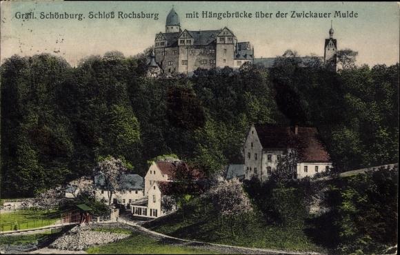 Ak Rochsburg Lunzenau in Sachsen, Schloß mit Hängebrücke über der Mulde