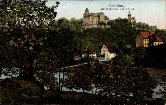 Ak Rochsburg Lunzenau in Sachsen, Muldenbrücke mit Schloss