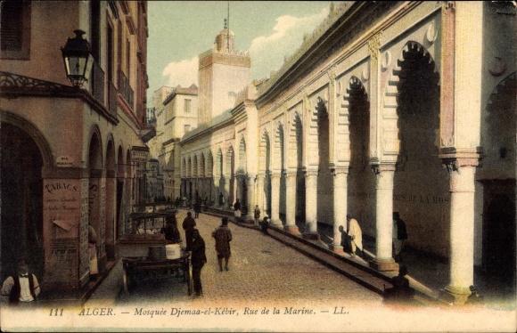 Ak Alger Algerien, Mosquée Djemaa el Kébir, Rue de la Marine