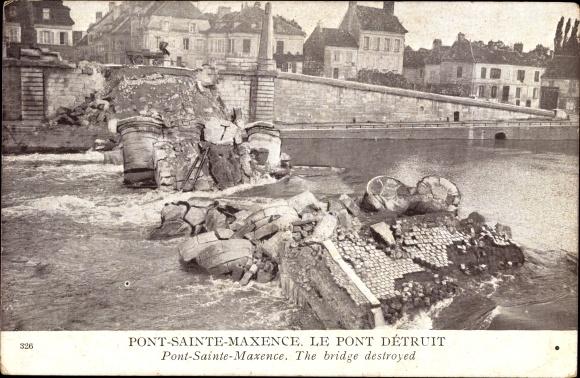 Ak Pont Sainte Maxence Oise, Pont détruit, Zerstörte Brücke