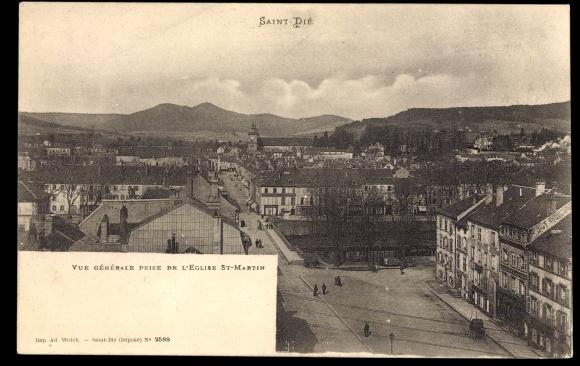 Ak Saint Dié des Vosges Vosges Lothringen, Vue generale prise de l'Eglise