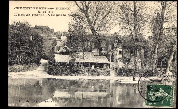Ak Chennevieres sur Marne Val de Marne, L'Ecu de France, vue sur la Marne