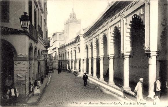 Ak Alger Algerien, Mosquée Djemaa el Kebir, Rue de la Marine