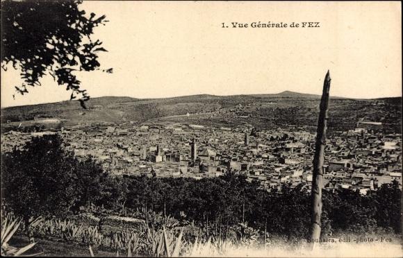 Ak Fès Fez Marokko, Vue generale, Blick auf den Ort, Minarett, Agaven
