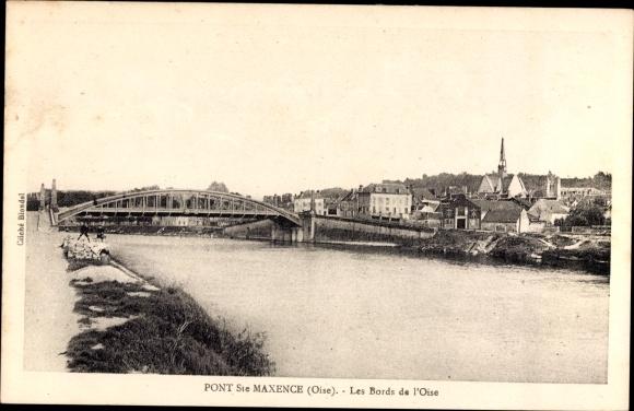 Ak Pont Sainte Maxence Oise, Les Bords de l'Oise, Flusspartie, Brücke, Kirche