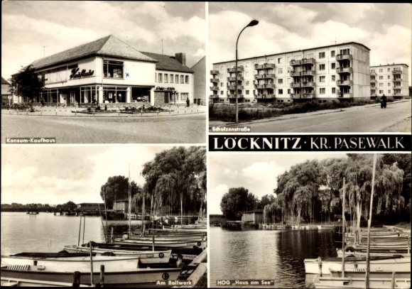 Ak Löcknitz Stadtansichten Kaufhaus HOG Haus am See Am