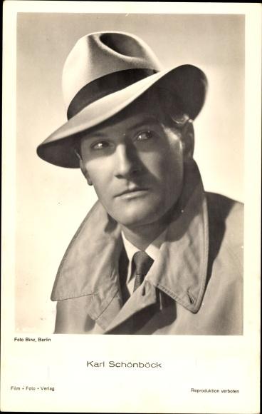 Ak Schauspieler Karl Schönböck, Portrait, Hut, Mantel