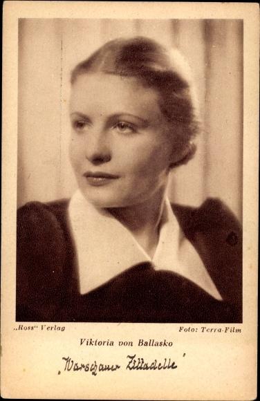 Ak Schauspielerin Viktoria von Ballasko, Portrait, Terra Film, Ross