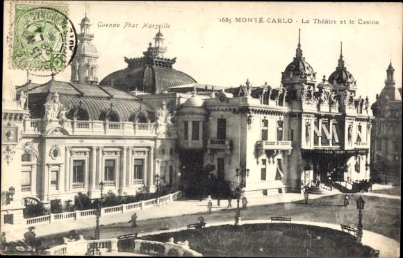 Ak Monte Carlo Monaco, Le Theatre et le Casino, Theater, Kasino, Straße