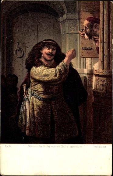 Künstler Ak Rembrandt, Simson bedroht seinen Schwiegervater