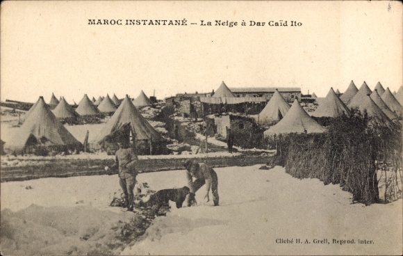 Ak Dar Caid Ito Marokko, Maroc Instantané, La Neige, Schnee, Militärlager