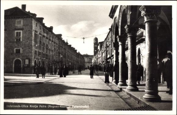 Ak Dubrovnik Kroatien, Ulica Kralja Petra, Ragusa Koenigs Petarstraße