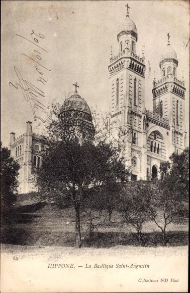 Ak Hippone Algerien,La Basilisque Saint Augustin, Kirche, Turm, Kreuz
