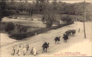 Ak Touggourt Algerien, Caravane sur la route de Biskra