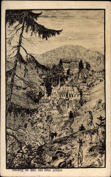Künstler Ak Stolberg Südharz in Sachsen Anhalt, Blick auf den Ort von Osten