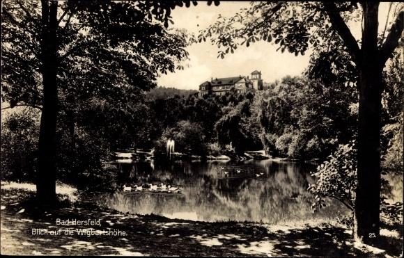 Ak Bad Hersfeld in Hessen, Blick auf die Wigbertshöhe, Teich, Springbrunnen