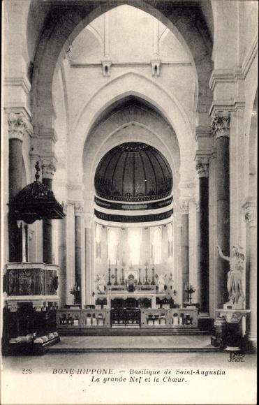 Ak Bone Hippone Algerien, Basilique de Saint Augustin, la Grande Nef et Choeur