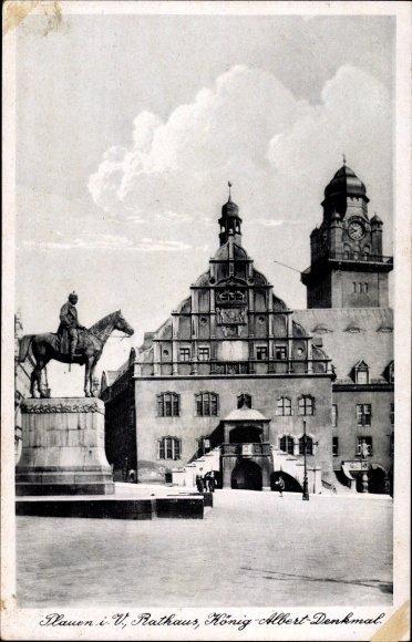 Ak Plauen im Vogtland, Blick auf das Rathaus und das König Albert Denkmal