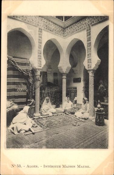 Ak Alger Algerien, Intérieur Maison Maure, Innenhof, Teppiche