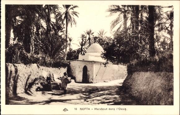 Ak Nefta Tunesien, Marabout dans la Oasis, Straßenpartie, Palmen