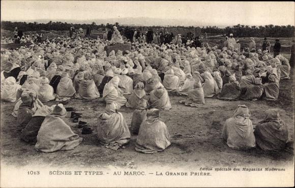 Ak Marokko, Scènes et Types, La Grande Prière, Muslime beim Gebet