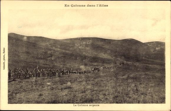 Ak Marokko, En Colonne dans l'Atlas, La Colonne serpente