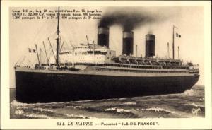 Ak Le Havre Seine Maritime, Paquebot Ile de France, CGT, French Line