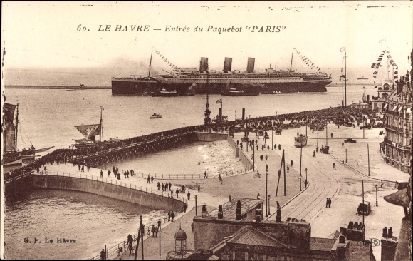 Ak Le Havre Seine Maritime, Paquebot Paris, Entree, CGT, French Line 0
