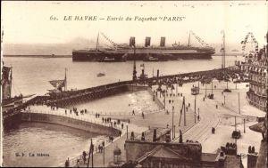 Ak Le Havre Seine Maritime, Paquebot Paris, Entree, CGT, French Line