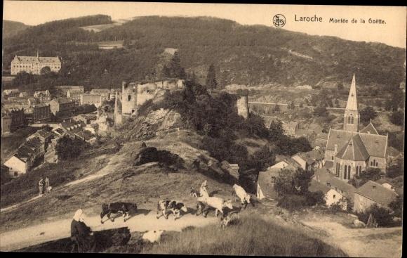 Ak La Roche en Ardenne Wallonien Luxemburg, Montée de la Goette, Kuhabtrieb