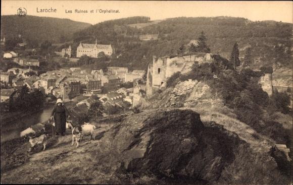 Ak La Roche en Ardenne Wallonien Luxemburg, Les Ruines et l'Orphelinat