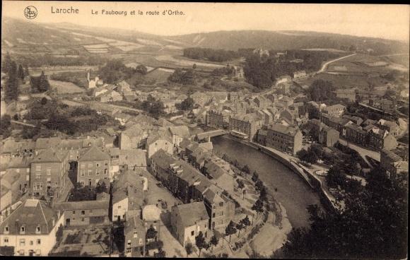 Ak La Roche en Ardenne Wallonien Luxemburg, Le Faubourg et la Route d'Ortho