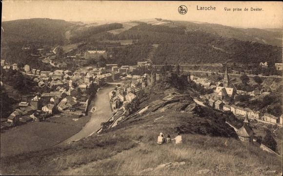 Ak La Roche en Ardenne Wallonien Luxemburg, Vue prise de Dester