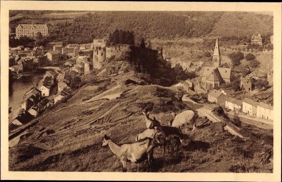 Ak La Roche en Ardenne Wallonien Luxemburg, Panorama, Ziegenhirte