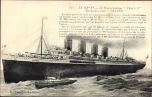 Ak Le Havre Seine Maritime, Paquebot France, CGT, French Line