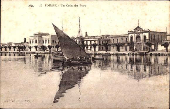 Ak Sousse Tunesien, Un Coin du Port, Hafenpartie, Segelboot, Häuser