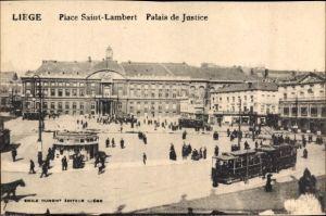 Ak Liège Lüttich Wallonien, Place Saint Lambert, Palais de Justice, Tram